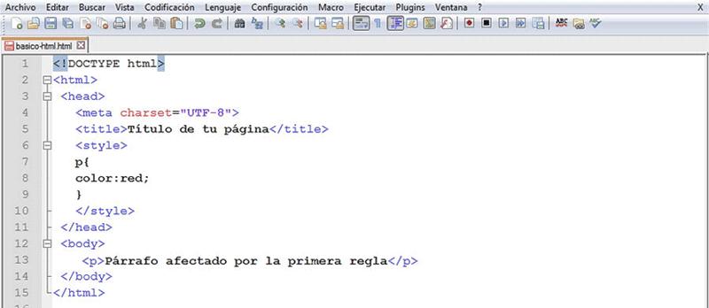 Para utilizar CSS en el head hay que introducir la regla dentro de la etiqueta style